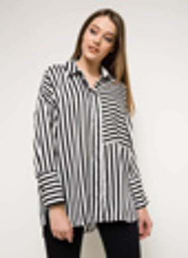 DeFacto Çizgili Gömlek Tunik Siyah